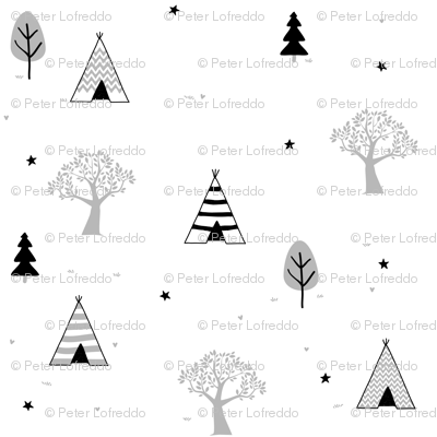 Grey Teepee and Trees