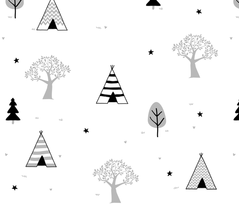 Grey Teepee and Trees fabric by dreammachineprints on Spoonflower - custom fabric