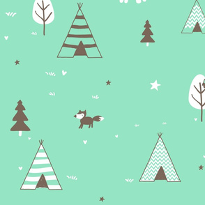 Mint and Brown Teepee and Trees