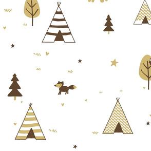 Light Brown Teepee and Trees