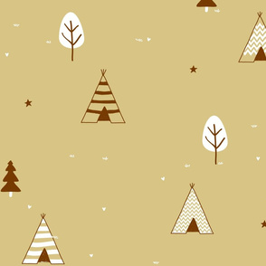 All Brown Teepee and Tress