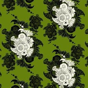 Floral collage in green & black