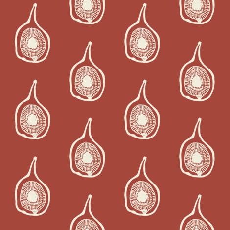 figs on terra cota fabric by ali*b on Spoonflower - custom fabric