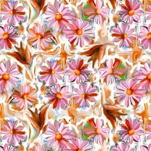 Hot Pink and Red Daisies and Leaves 12in