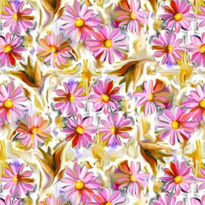 Hot Pink and Tan Daisies and Leaves 12in