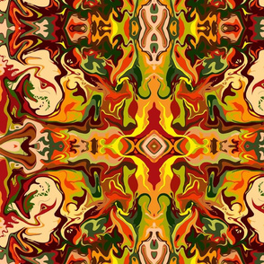 BN11 - Marbled Mystery Tapestry in Orange - Yellow - Browns - Rust - Beige - Greens