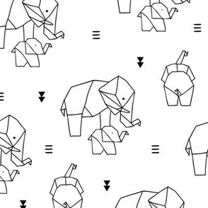 Geometric elephants origami paper art safari theme mother and baby gender neutral black and white