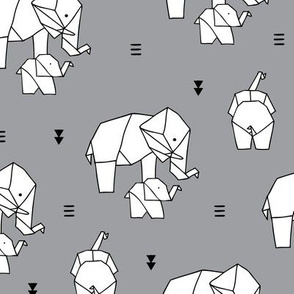 Geometric elephants origami paper art safari theme mother and baby gender neutral gray black and white