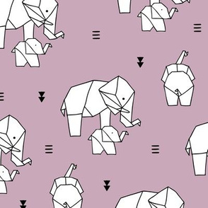 Geometric elephants origami paper art safari theme mother and baby lilac pastel girls