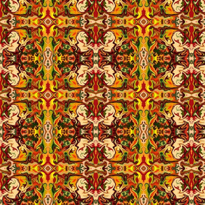 BN11-Small Marbled Mystery Tapestry in orange, rusty browns, green and yellow
