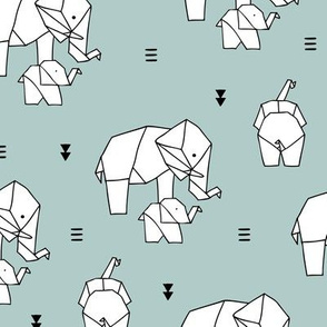 Geometric elephants origami paper art safari theme mother and baby gender neutral blue