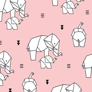 Geometric elephants origami paper art safari theme mother and baby girls baby pastel pink
