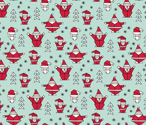 Origami decoration stars seasonal geometric december holiday and santa claus print design red mint fabric by littlesmilemakers on Spoonflower - custom fabric