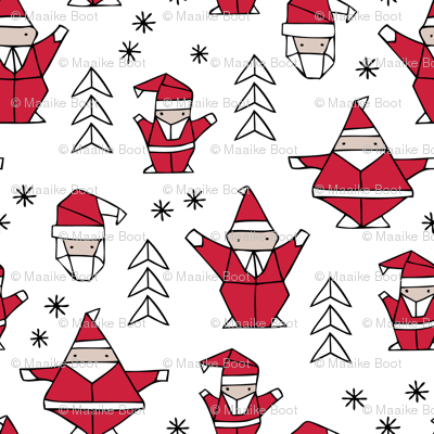Origami decoration stars seasonal geometric december holiday and santa claus print design red black and white