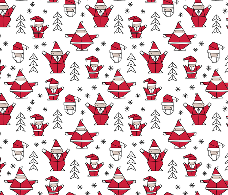 Origami decoration stars seasonal geometric december holiday and santa claus print design red black and white fabric by littlesmilemakers on Spoonflower - custom fabric
