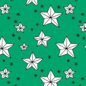Origami decoration stars seasonal geometric december holiday holy night design green