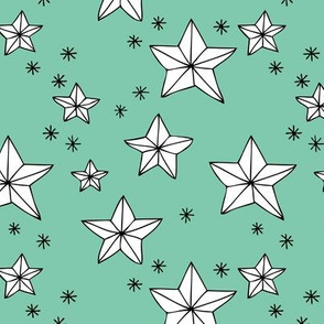 Origami decoration stars seasonal geometric december holiday holy night design mint green