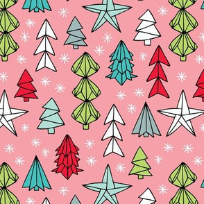 Christmas trees and origami decoration stars seasonal geometric december holiday design pink multi color