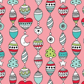 Jingle bells ornaments and christmas decoration december holiday design pink