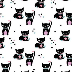 Kitty black cat cute love cats fabric pink blue
