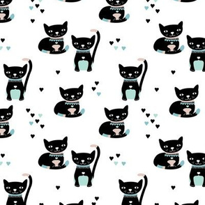 Kitty black cat cute love cats fabric mint blue