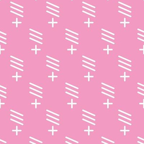 Geometric plus and stokes abstract scandinavian style fabric pink