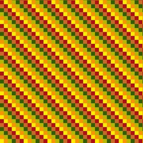 BN11 - Tiny Stairstep Diagonal Checks in Red - Yellow - Orange - Green