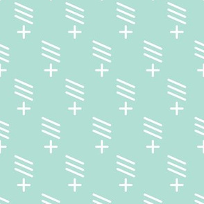 Geometric plus and stokes abstract scandinavian style fabric mint