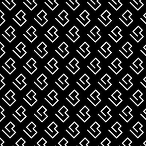 Geometric abstract maze scandinavian shape black and white