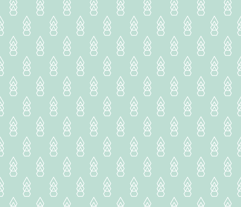 Triangles and diamonds abstract geometric designs scandinavian tree forest mint fabric by littlesmilemakers on Spoonflower - custom fabric