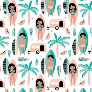Summer surf sessions cool tropical palm tree vacation happy camper fabric mint blue