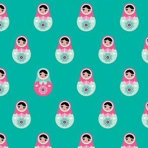 Retro style folklore russian nesting dolls matryoshka babushka nesting dolls blue pink
