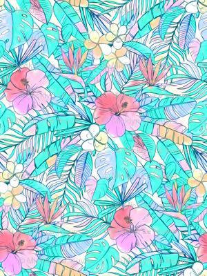 Pretty Pastel Hawaiian Hibiscus Print