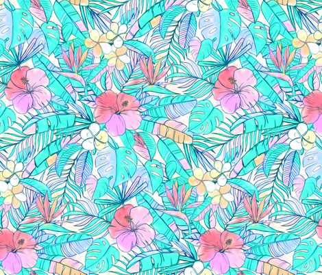 Pretty Pastel Hawaiian Hibiscus Print fabric by micklyn on Spoonflower - custom fabric