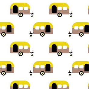 Super cool dutch caravan travel theme summer vacation time in europe fabric mustard yellow
