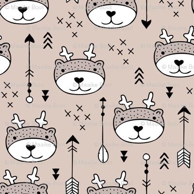 Sweet little baby moose geometric crosses and arrows deer fabric gender neutral