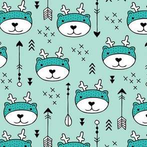 Sweet little baby moose geometric crosses and arrows deer fabric gender neutral mint blue