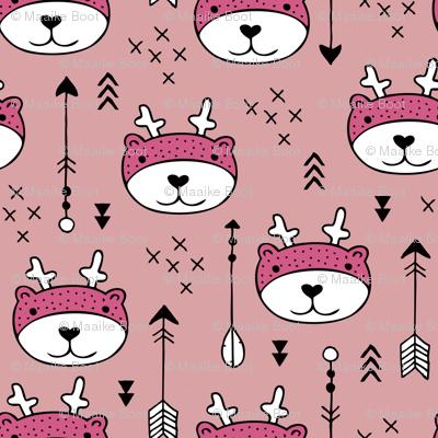 Sweet little baby moose geometric crosses and arrows deer fabric pink girls