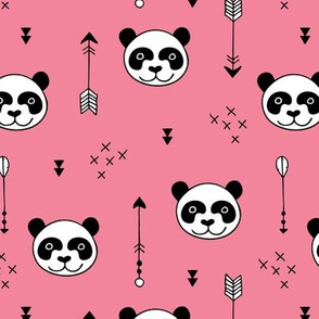 Sweet little baby panda geometric crosses and arrows fabric pink girls