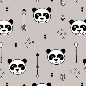 Sweet little baby panda geometric crosses and arrows fabric gender neutral beige