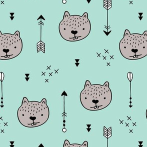 Sweet little baby beaver geometric crosses and arrows fabric gender neutral mint