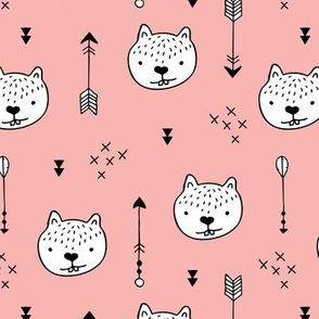 Sweet little baby beaver geometric crosses and arrows fabric girls pink