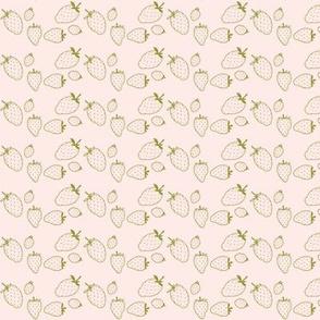 strawberries garden green & pale pink