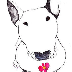 Bull Terrier Smelling Flowers