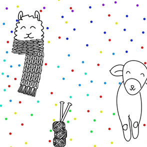 Color Me Knitting Animal Doodle With Rainbow Dots