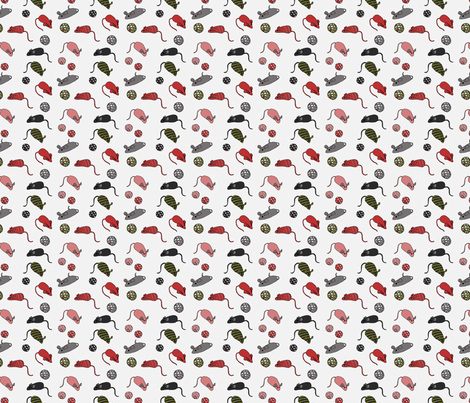 Cat Toys - White fabric by fernlesliestudio on Spoonflower - custom fabric