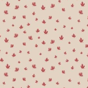 Maple Leaf Ditsy in Red on Taupe Background