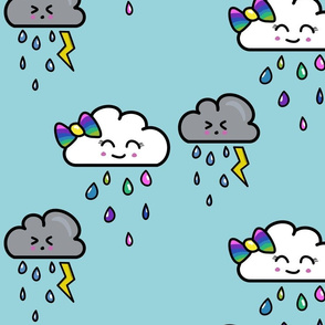 Girly  Rainbow cloud with bow and gray storm cloud  tooting a lightning bolt