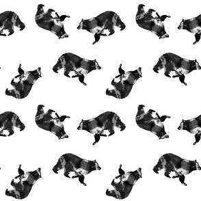 Watercolour Bear Scatter Black and White