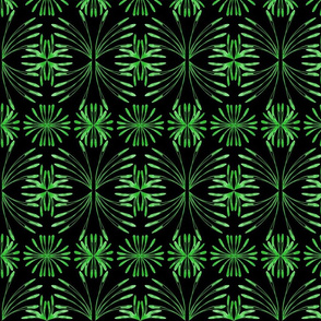 Lush Leafy Tropical on Deep Black